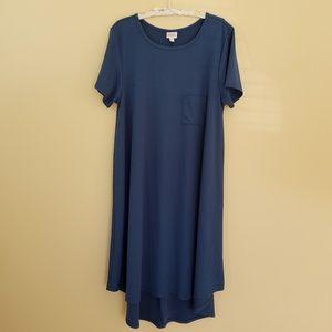 LulaRoe Carly Blue hi lo Midi Swing Dress XXXL